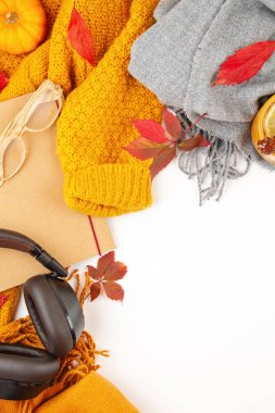 Comfort warm clothers for the cold weather flat lay