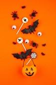 Halloween tök Halloween party tárgyak, denevérek, pókok egy