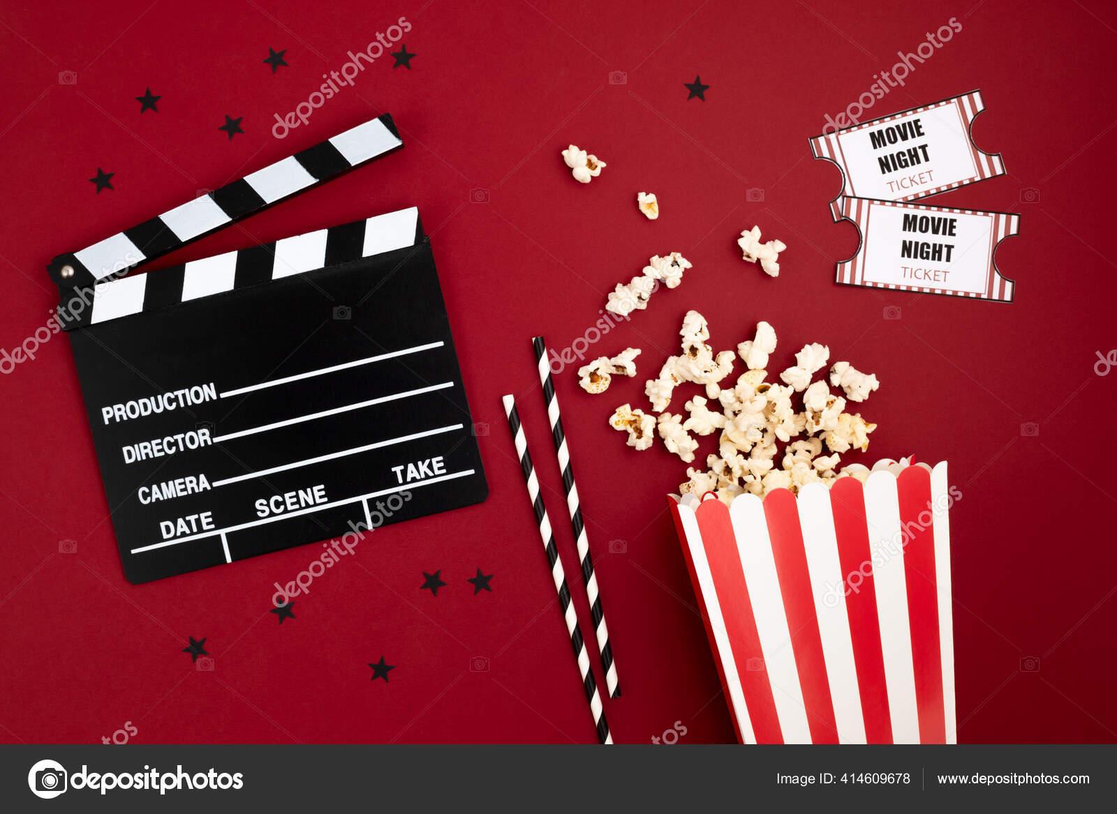 https depositphotos com 414609678 stock photo movie clapperboard cinema tickets home html