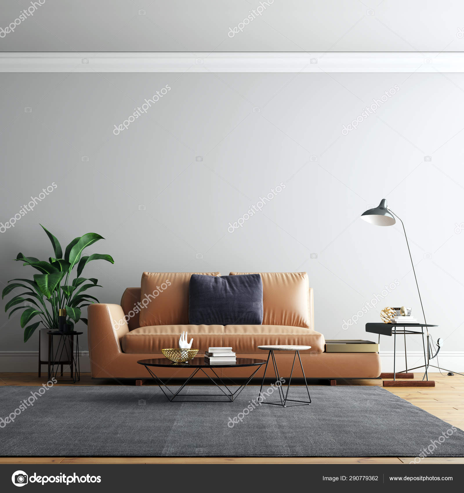 Interior Living Room Wall Background Mockup Furniture