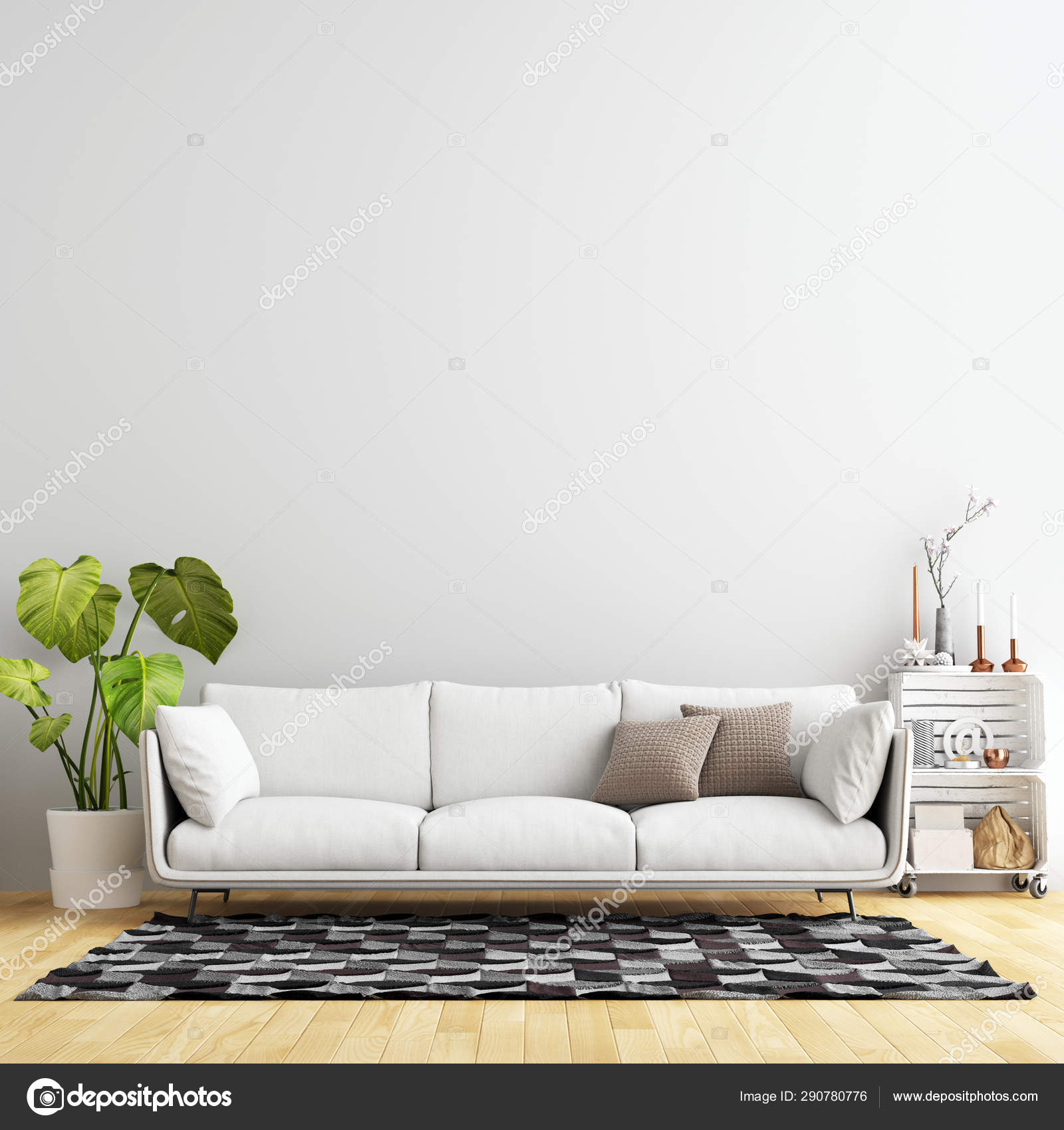 Interior Living Room Wall Background Mockup with Furniture and Decoration  12