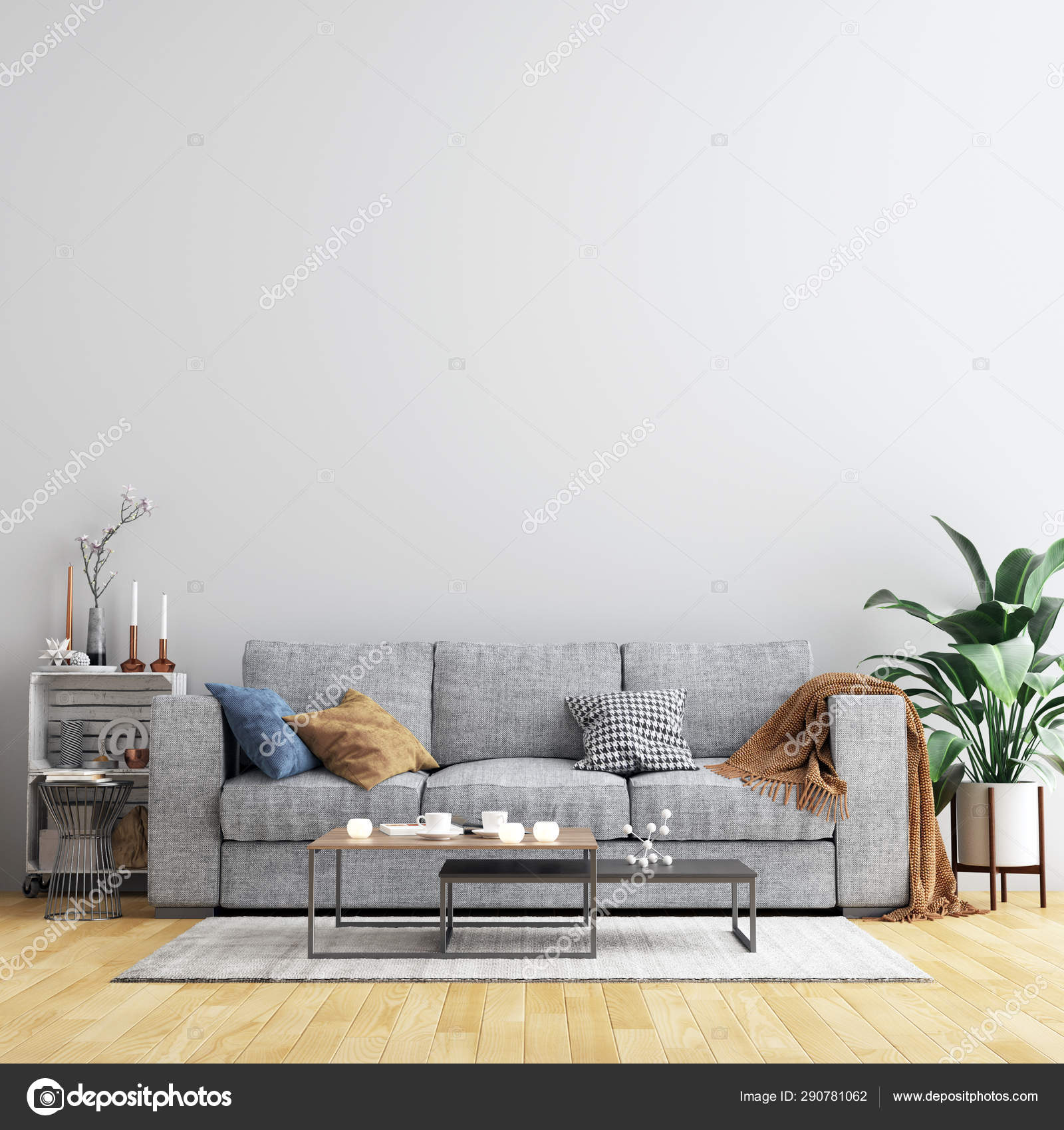Interior Living Room Wall Background Mockup Furniture ...