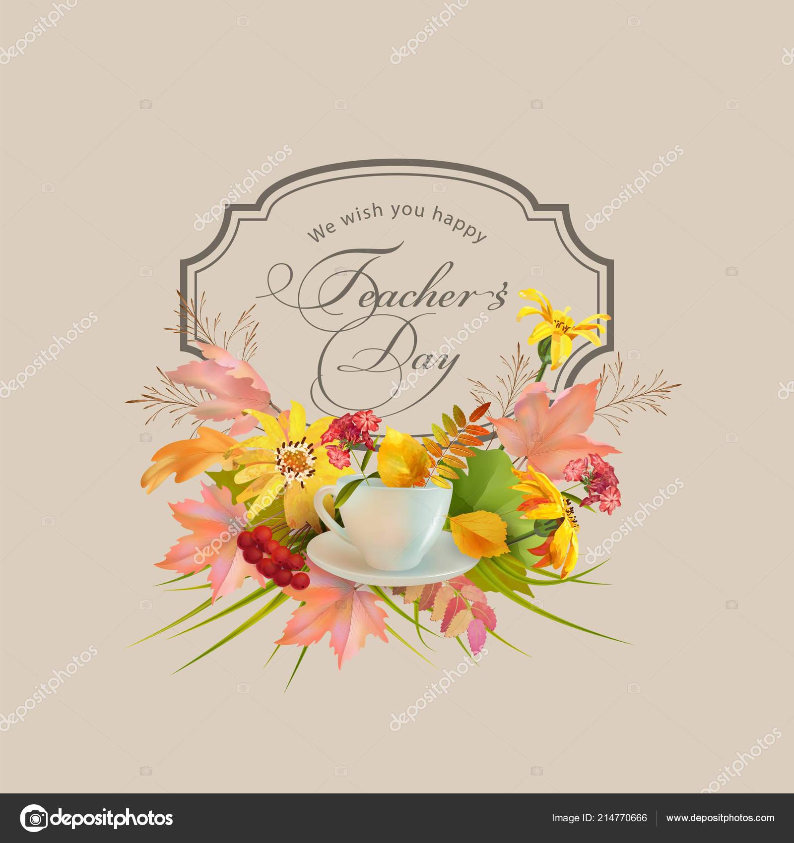 Teachers day greeting card autumn leaves flowers happy teachers day teachers day greeting card autumn leaves flowers happy teachers day stock vector m4hsunfo