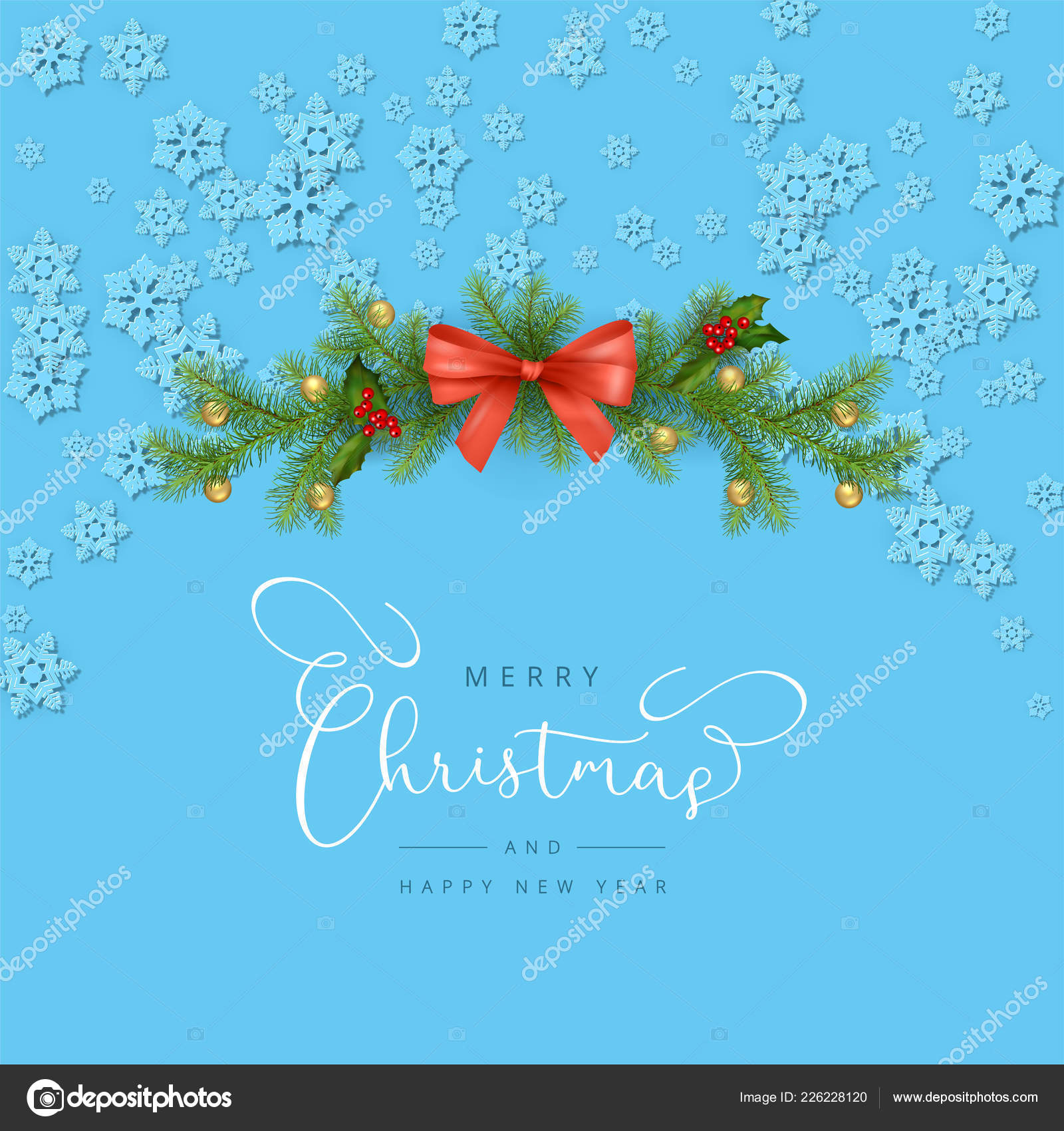 merry christmas new year greeting card christmas composition festive decorations stock vector