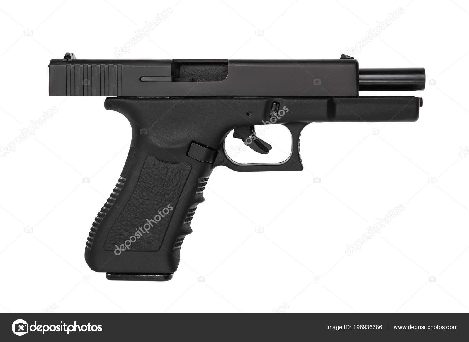 Siyah Silah Tabanca üzerinde Izole Beyaz Arka Plan Stok Foto