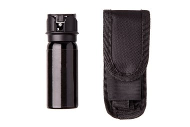 A can of pepper spray for self defense isolated on white background