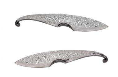 Damascus steel hunting knife isolate on white back
