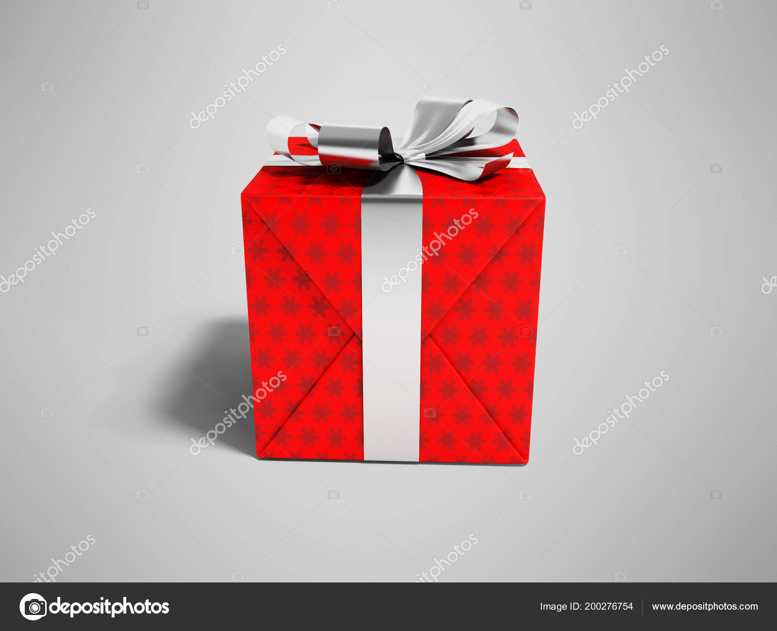 Modern Red Gift Silver Ribbon Bow Rendering Gray Background Shadow