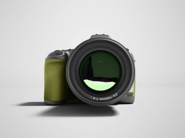 Modern yellow professional camera for nature photography front 3d rendering not gray background with shadow