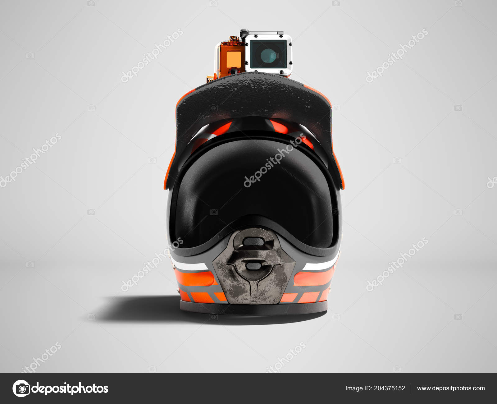 d1ddb8d920a Casque Moto Orange Moderne Avec Caméra Action Orange Face Render ...