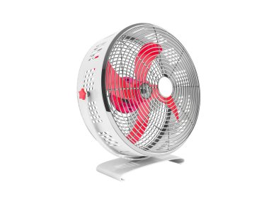 Modern red metal fan for cooling 3d rendering on white background no shadow