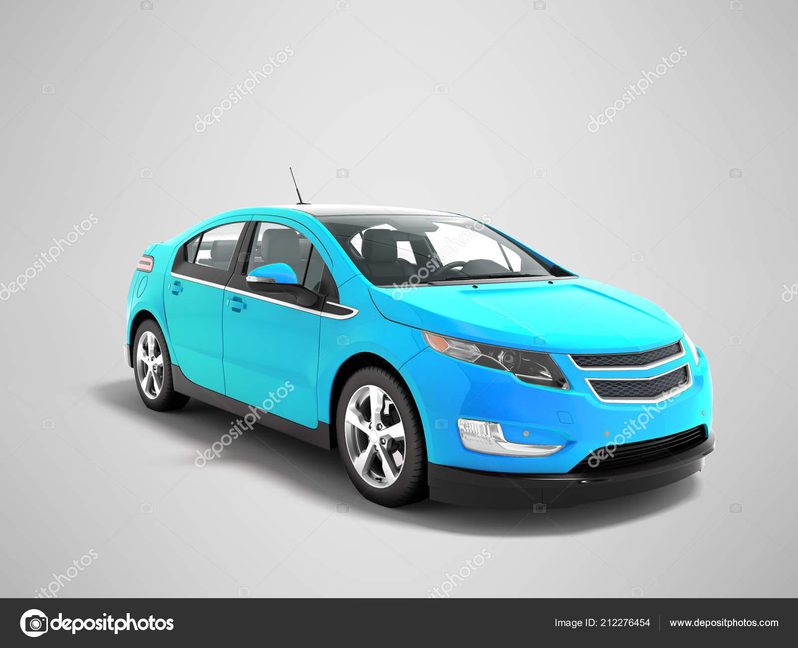 Rendering Auto Elettriche Moderne Colore Gradiente Blu Prospettiva