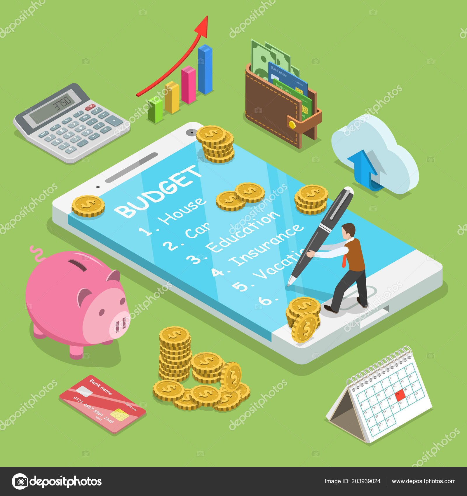 online family budget flat isometric vector concept man is planning the family budget and write down it into the smartphone vector by tarik_vision