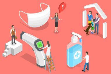3D Isometric Flat Vector Conceptual Illustration of Covid 19 Prevention Measures, Wear Medical Mask, Wash Hands, Check Temperature, Stay Home. icon