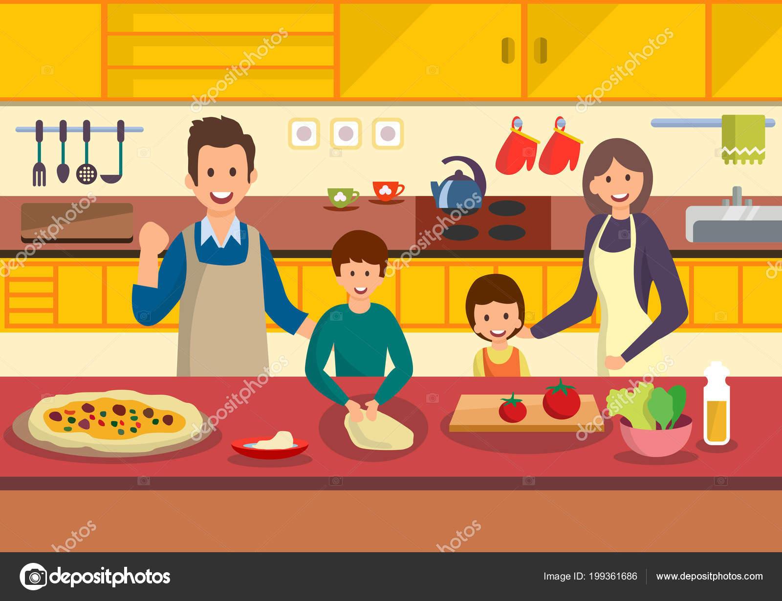 Familia De Dibujos Animados Feliz Cocina Pizza En La