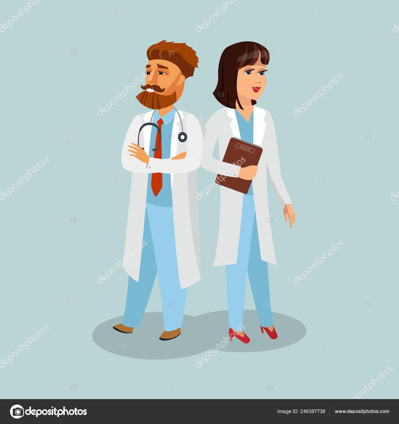 Doctor Ilustración Vector Uniforme Profesional Enfermera