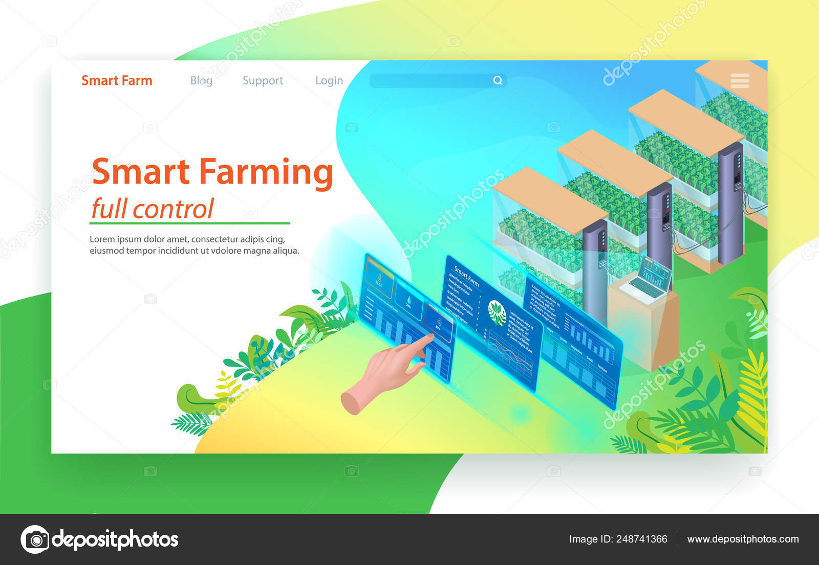 Smart Farming Full Control  Isometric Landing Page — Stock Vector
