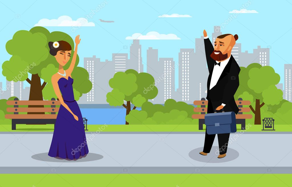 Man and Woman in Park Flat Vector Illustration
