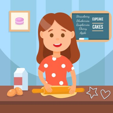 Child making Homemade cookies Vector Illustration