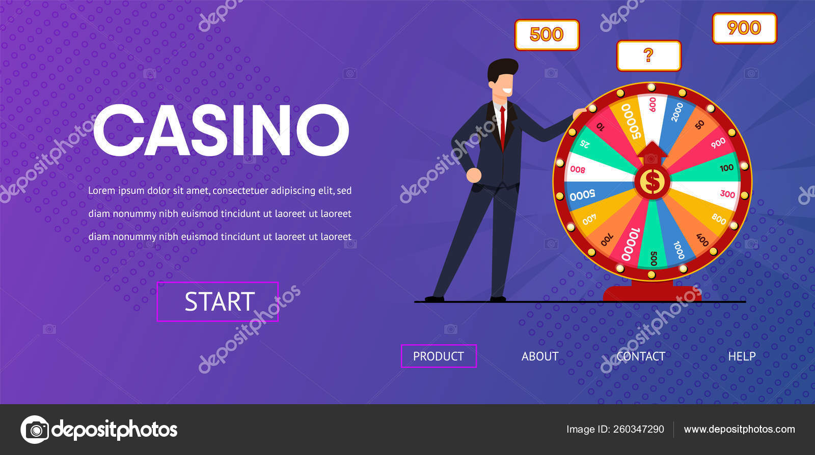 Happy Man near Spin Wheel Fortune Illustration — Stock