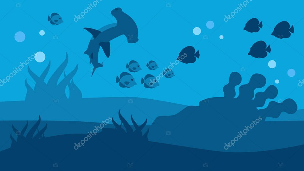 Silhouette Hammer Shark and Fish Seascape Banner