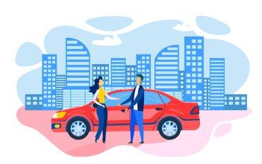 Man Woman Standing near Parked Car Flat Cartoon