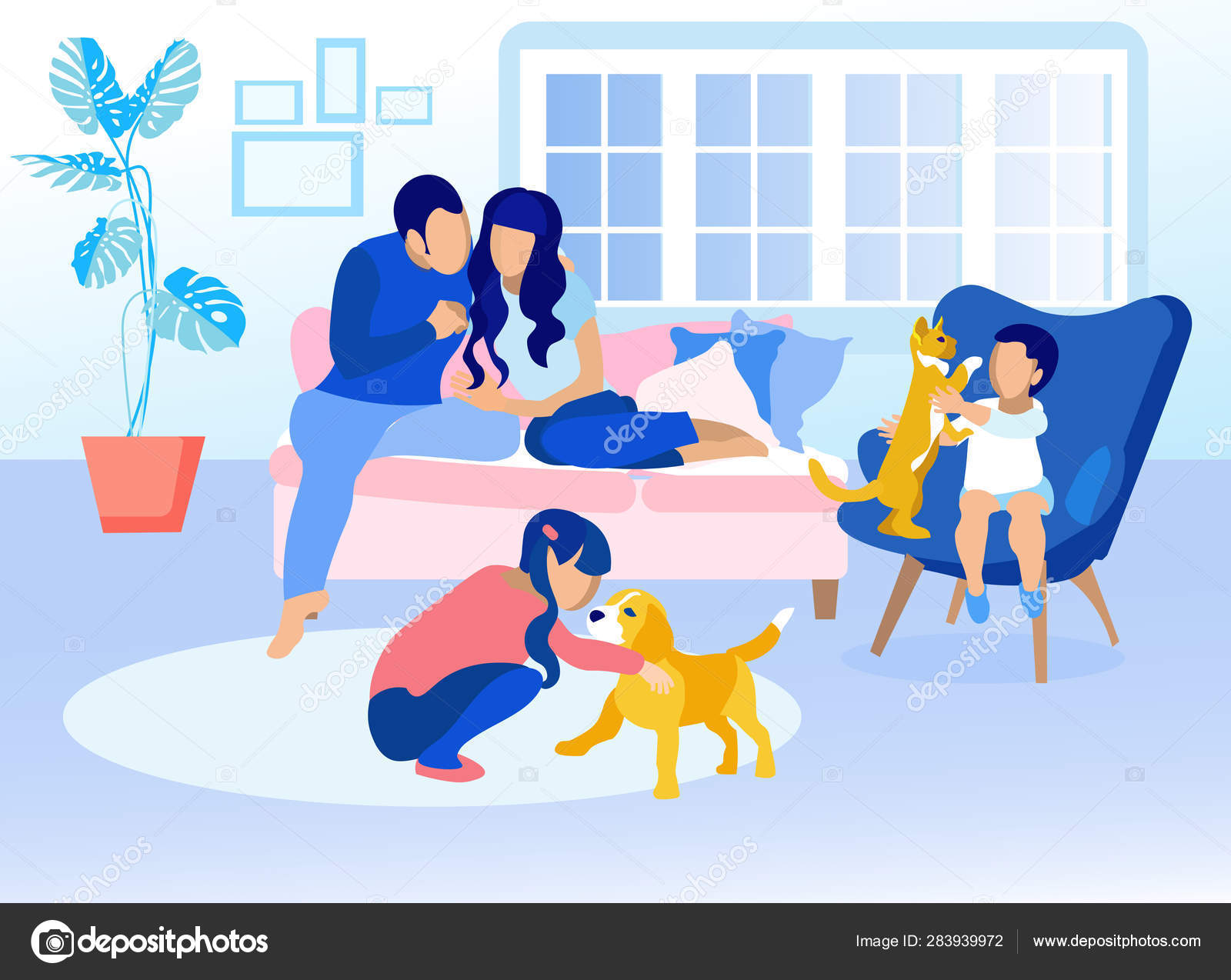 Family in Living Room at Home Cartoon Illustration — Stock ...