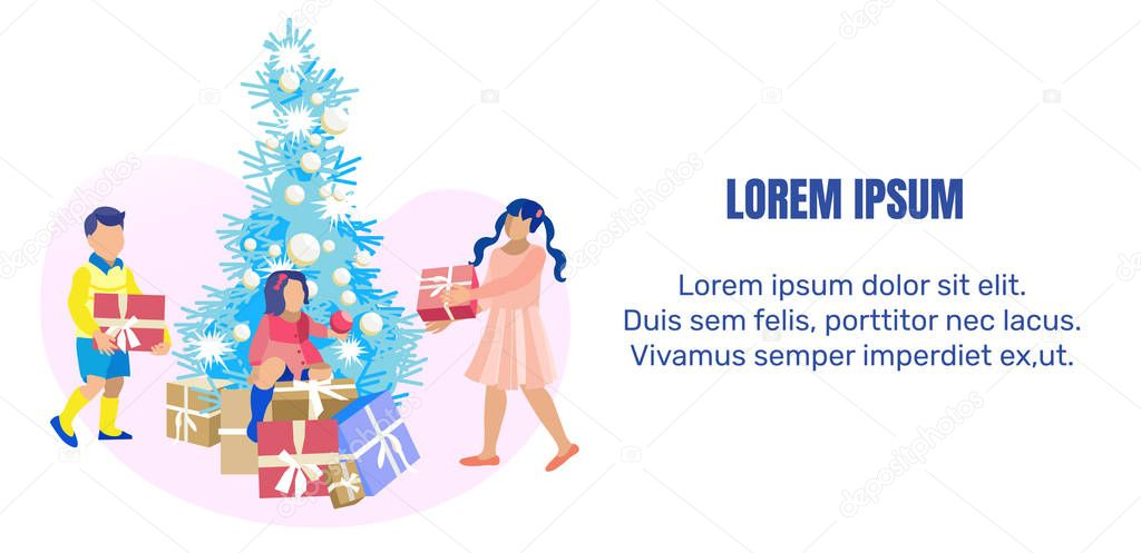 Kids Gifts And Christmas Tree On Cartoon Flat Banner With Advertising Or Motivate Easy To Edit Text Sister And Brother Carry Wrapped Presents Girl Sits On Boxes Stack Under Fir Vector This cute, kawaii christmas tree is perfect for celebrating the holidays. wdrfree