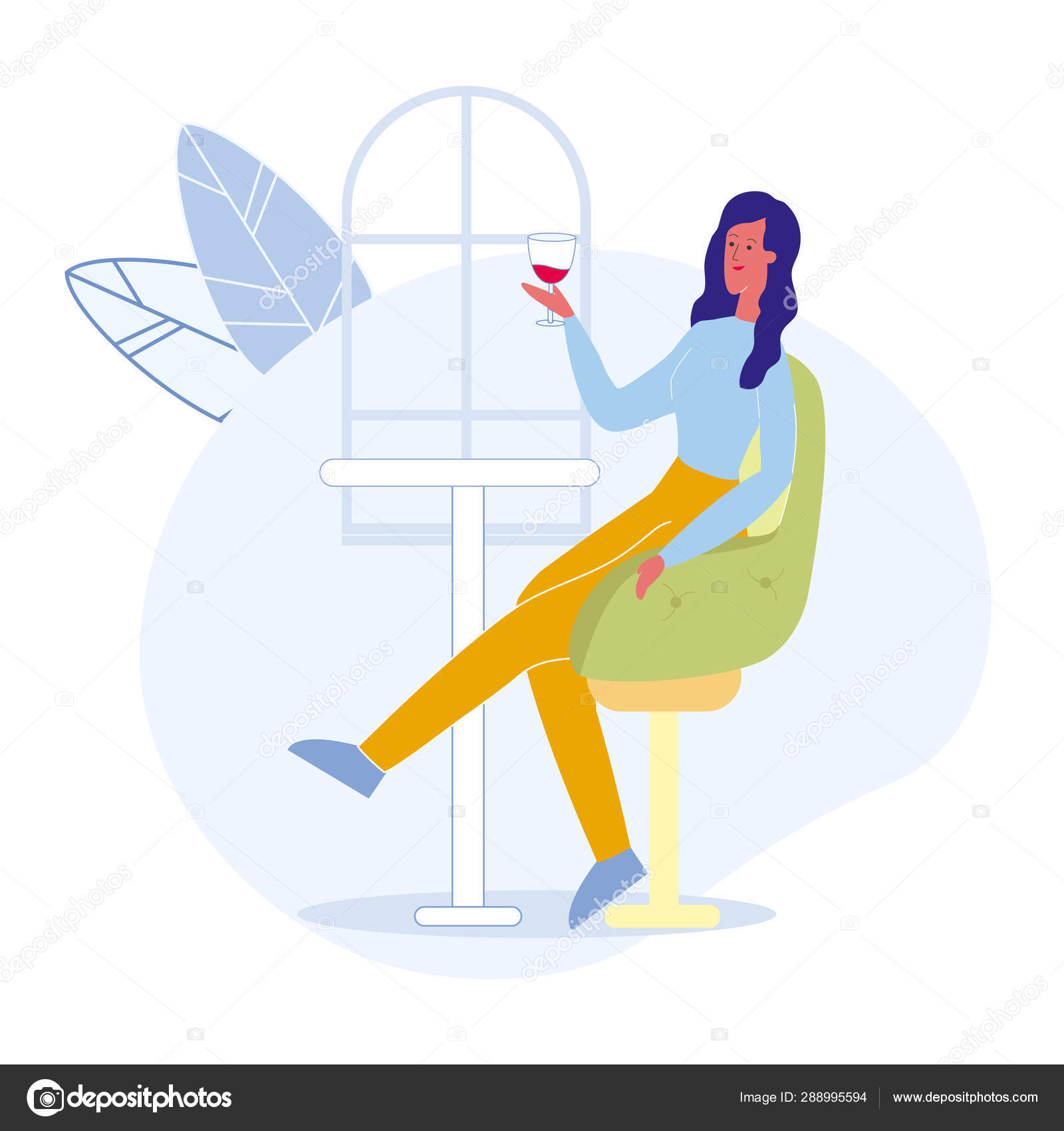 Alone Cartoon Girl woman in bar alone cartoon vector illustration — stock