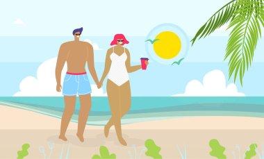 Couple in Love Walking on Sand Beach near Sea
