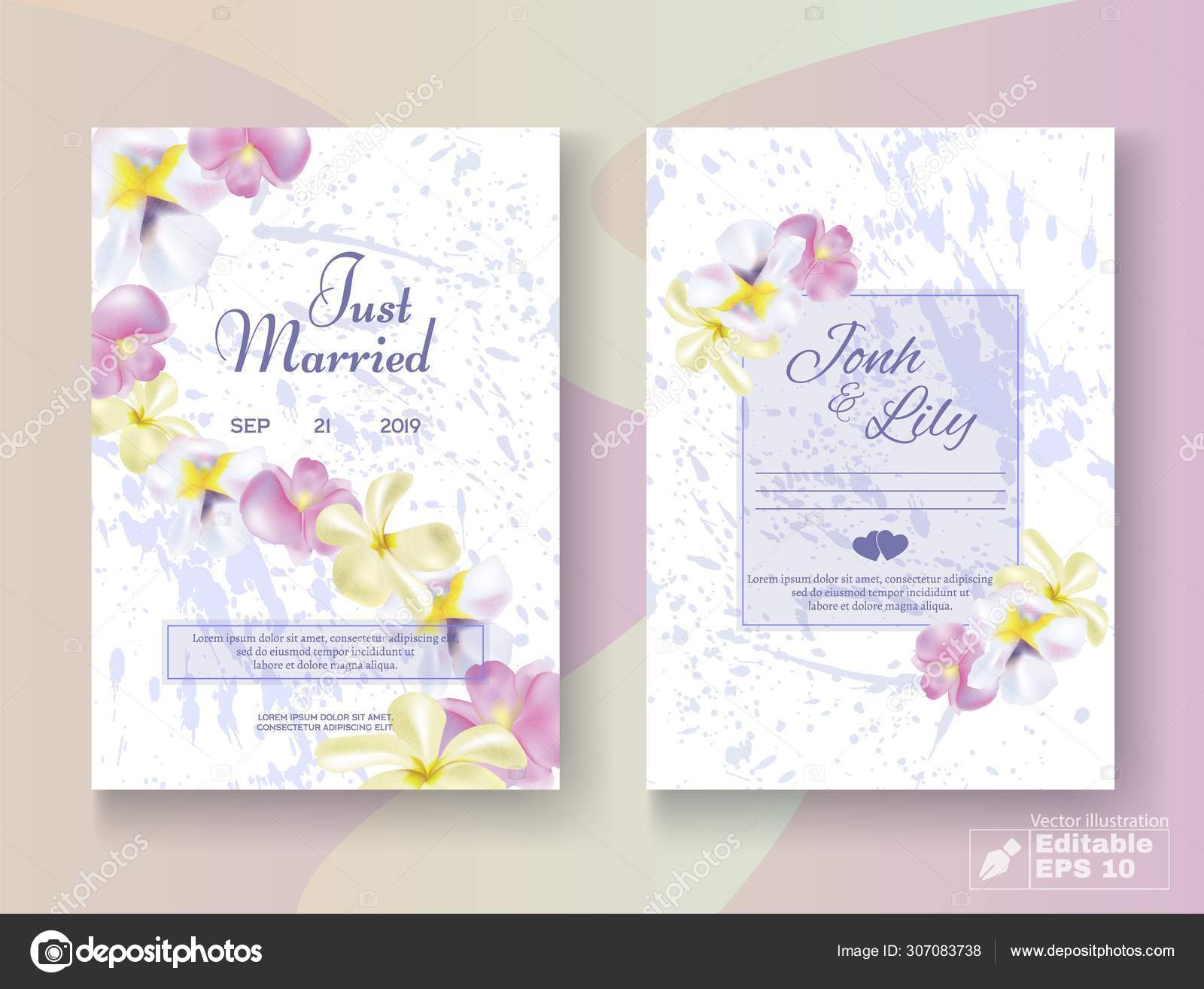 Romantic Floral Wedding Invitation Edit Cards Set Stock