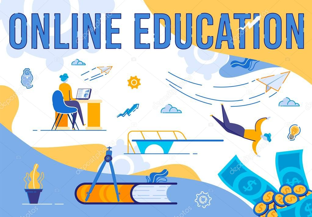 Online Education Banner Young Learning Woman Sitting At Desk With Computer Monitor Studying Graphs On Abstract Background With Money And Educational Icons Creative Cartoon Flat Vector Illustration Premium Vector In Adobe