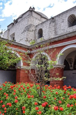Arequipa, Peru - October 7, 2018: Colorful archways and floral gardens in the Santa Catalina Monastery