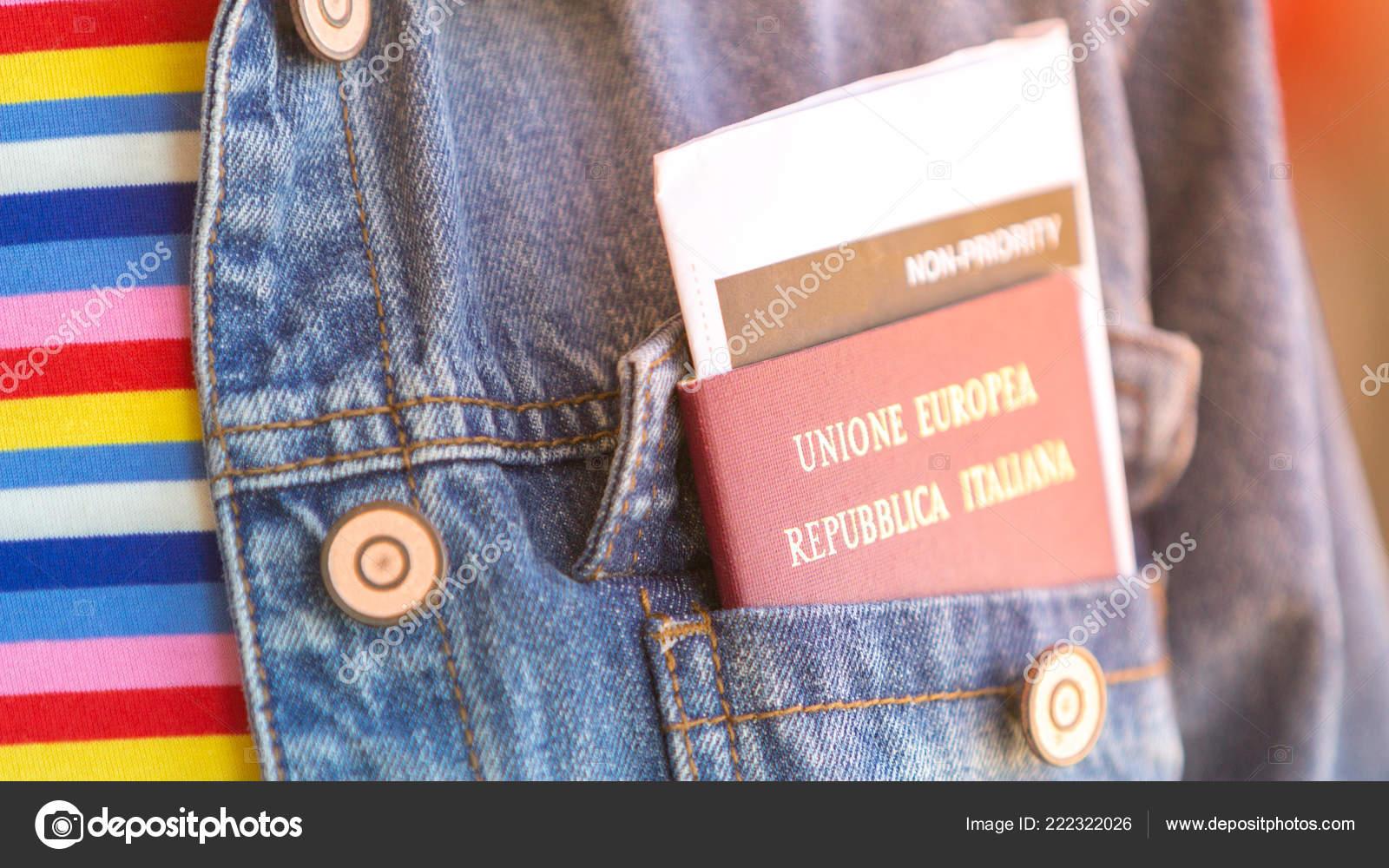 Italian Passport Boarding Pass Front Pocket Jeans Jacket Woman