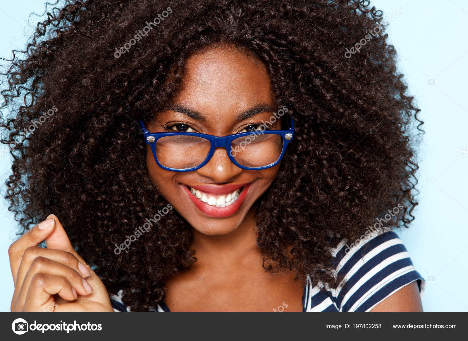 Close Portrait Young African American Woman Curly Hair