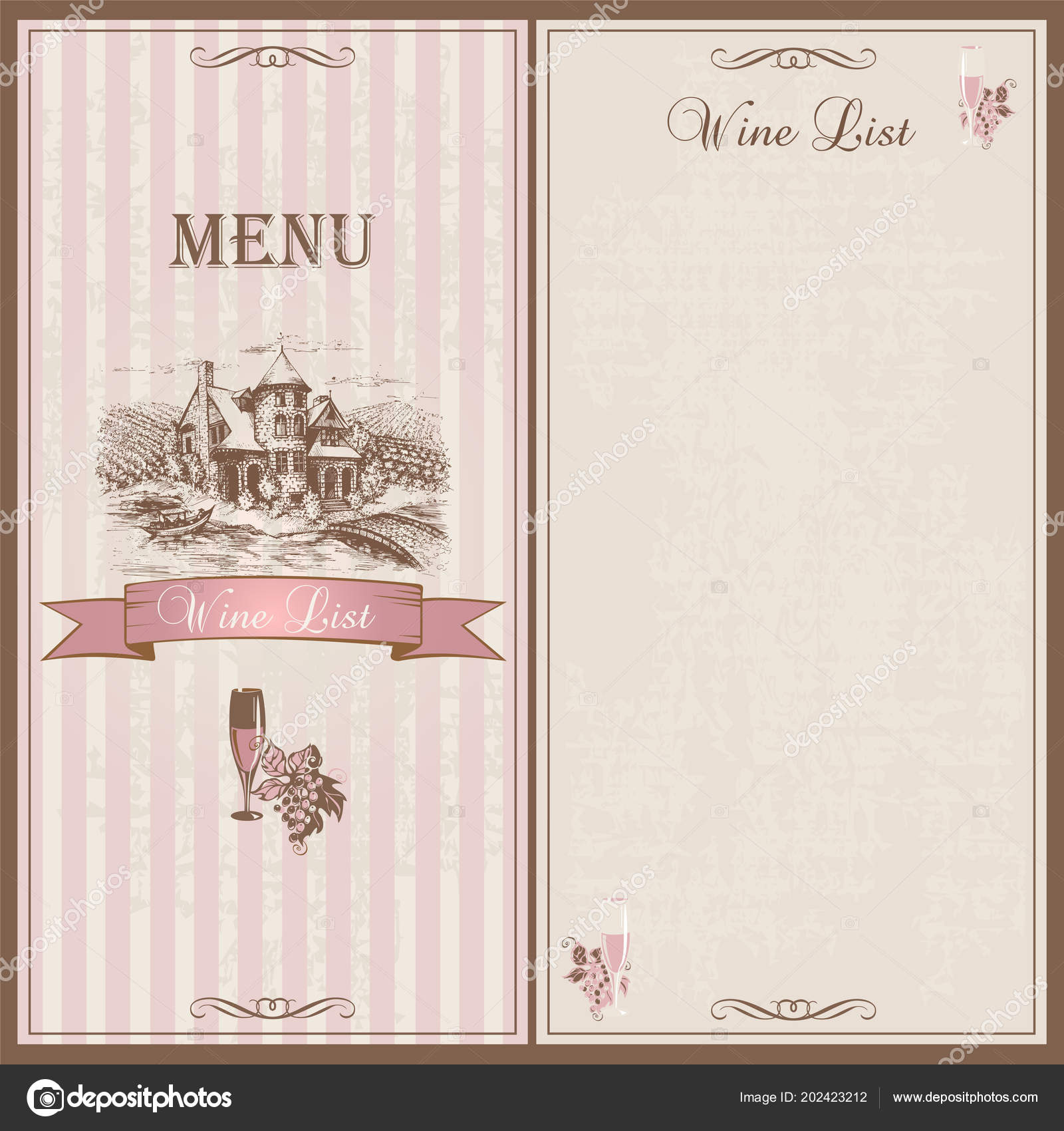 wine menu wine list template design restaurants sketch castle grape