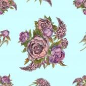 Květinový vzor bezešvé. Akvarelu květiny. Růže, pivoňky, šeříky. Starověké kytice květin. Svatební kytice. Pastelové barvy akvarel ilustrace