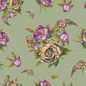 Modello senza cuciture floreale. Fiori dellacquerello. Rose, peonie, lillà. Dellannata mazzi di fiori. Bouquet da sposa. Colore pastello. Priorità bassa verde illustrazione dellacquerello