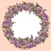 Fotografia Modello di carta di festa. Fiori dellacquerello. Corona di fiori. Partecipazione di nozze. Lillà: rose peonie. Colori pastello. Vintage. Illustrazione
