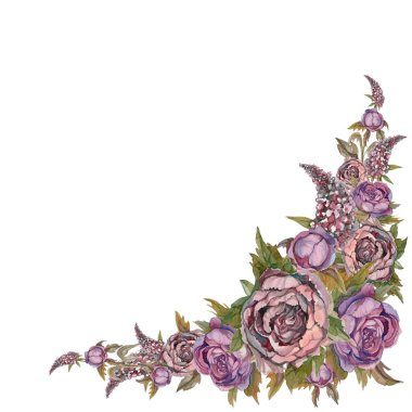 Watercolor. Decorative corner frame of flowers. Roses peonies lilacs. Painting. Design for postcards