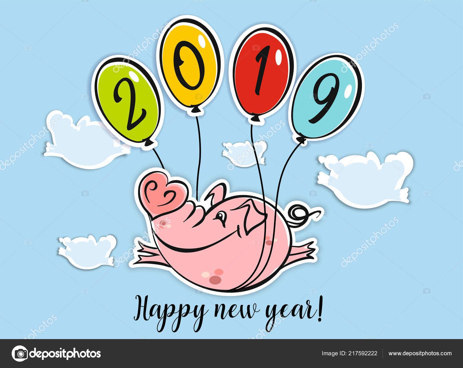 95573f09894e Bonne année. Carte de vœux. Le symbole de la nouvelle année 2019 est le  cochon. Porc drôle d oiseau sur ballons. Le style de dessin animé.