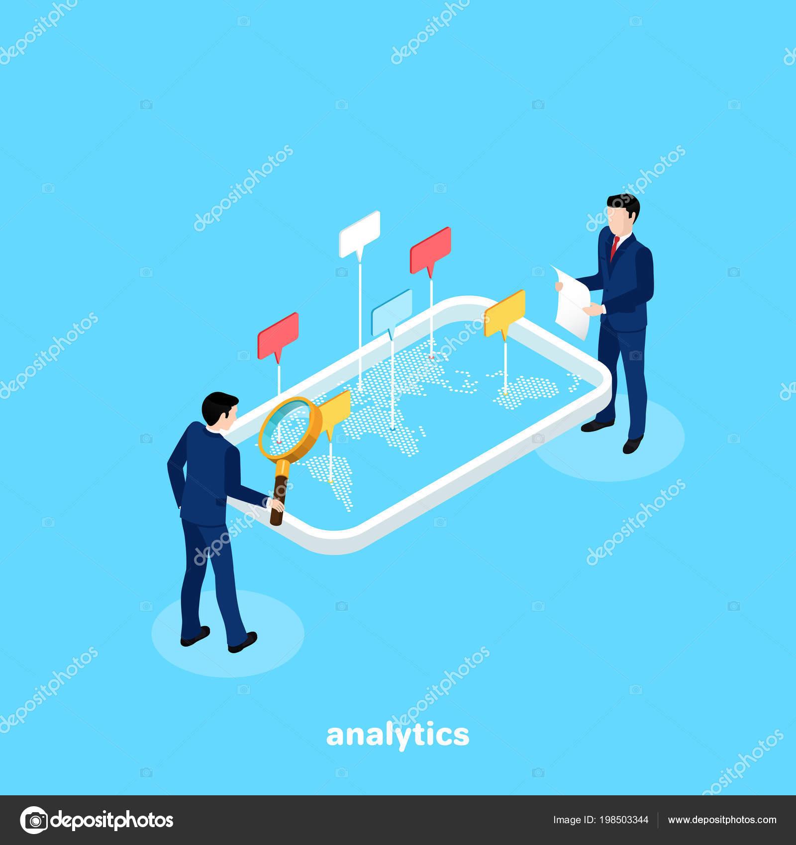 Men Business Suits Analyze Data Map World Isometric Image — Stock