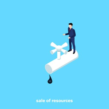 a man in a business suit stands on a pipe with a hatchet, an isometric image