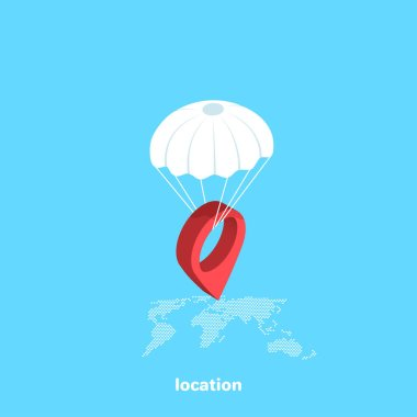 red locus icon descends on a parachute on a map of the globe, isometric image