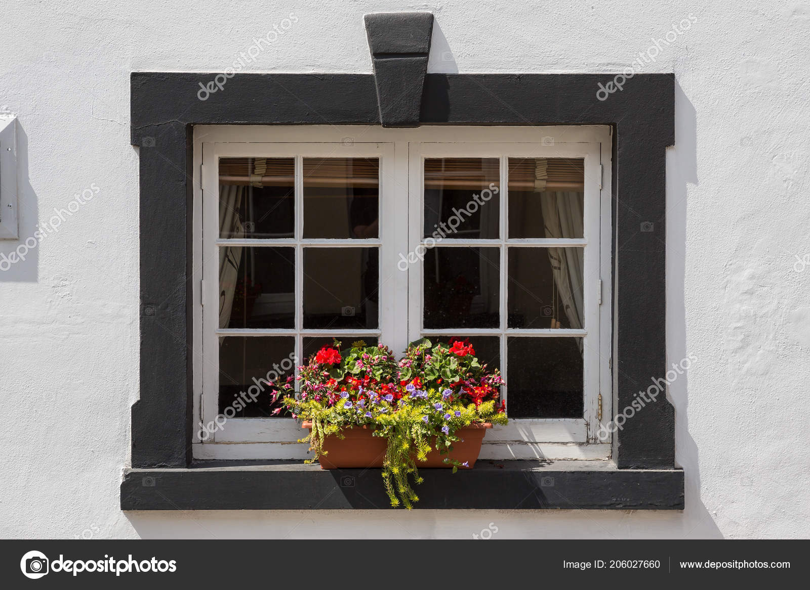 Small Window Box Beautiful Flowers Black Framed Window Stock Photo C Michael6882 206027660