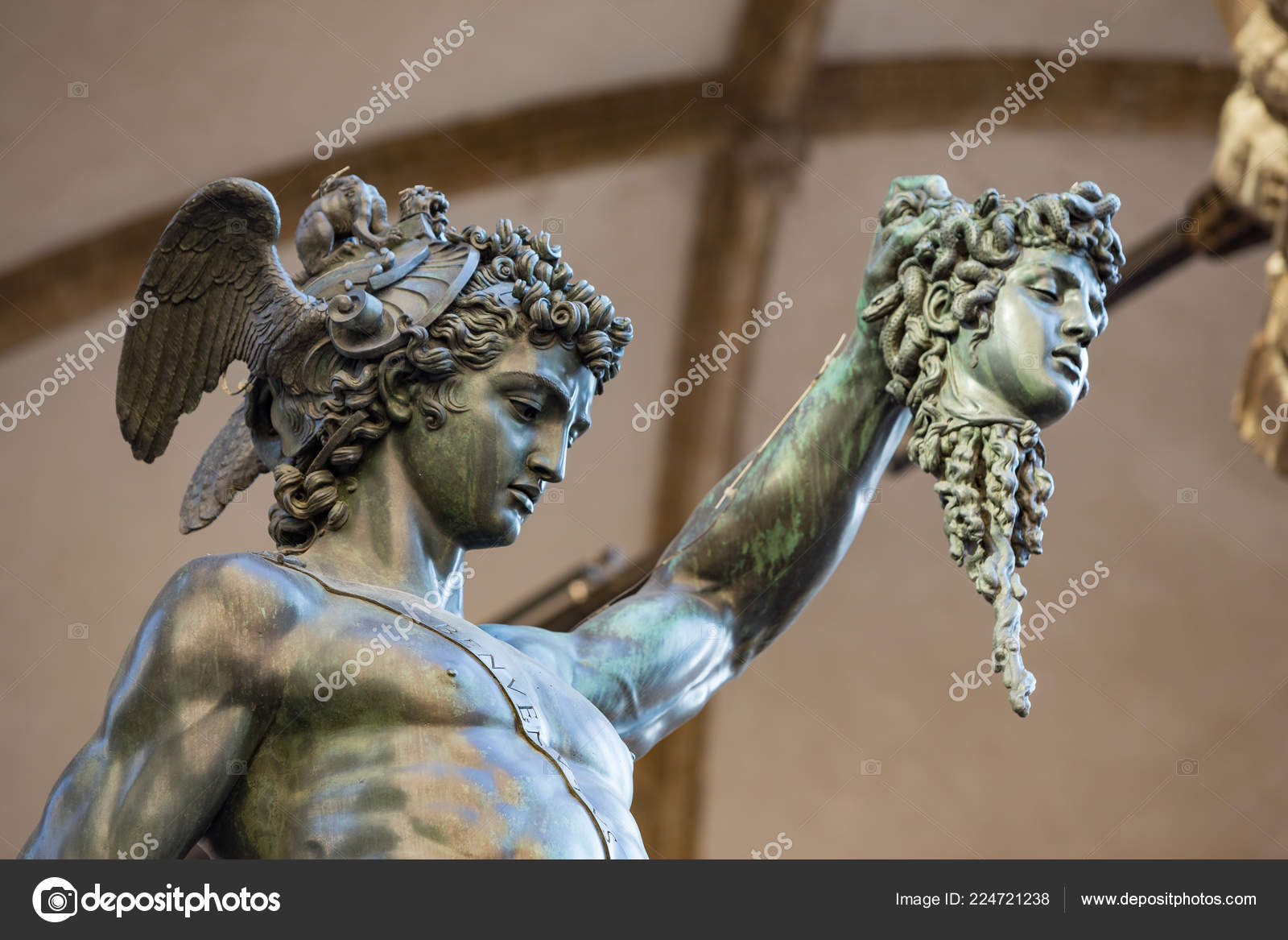 Florence Italy July 2nd 2015 Perseus Head Medusa Bronze