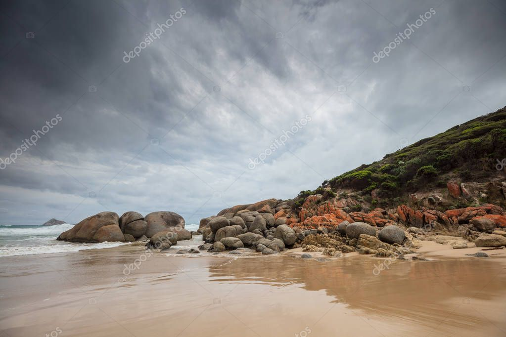 Rock formations at Whisky bay beach in Wilsons Promontory national park, Victoria, Australia