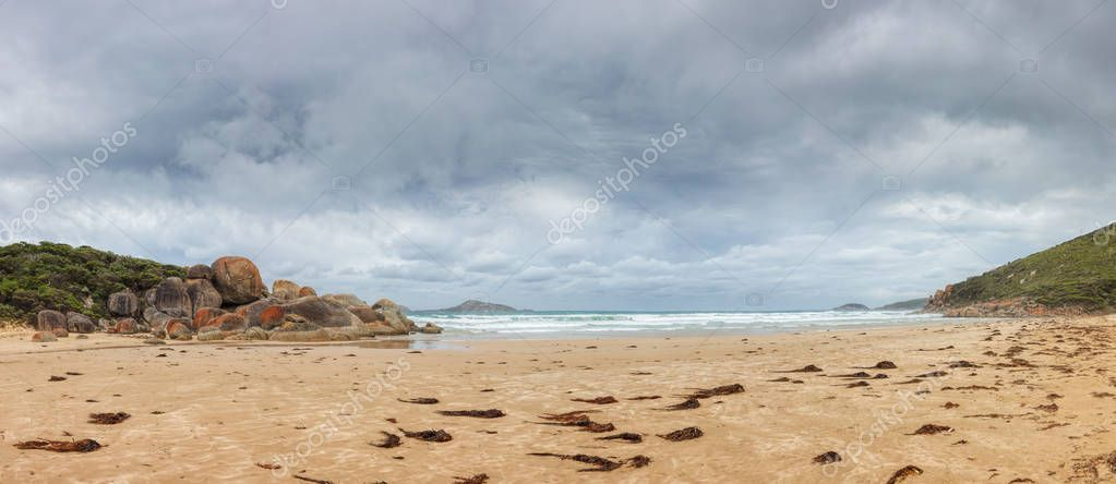 Panoramic view of Whisky bay beach in Wilsons Promontory national park, Victoria, Australia