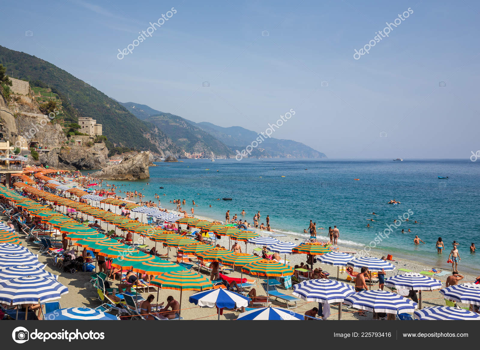 monterosso mare italy july 5th 2015 people swimming sunbathing beach