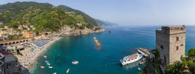 Monterosso al Mare Italy July 5th 2015 : Panoramic view of the beach and ferry stop at Monterosso al Mare, Liguria, Italy